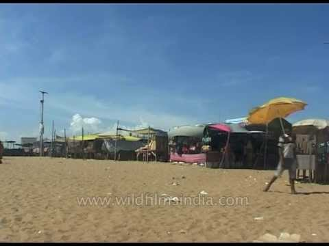 Various Stalls At The Puri Beach In Puri, Orissa, East India video