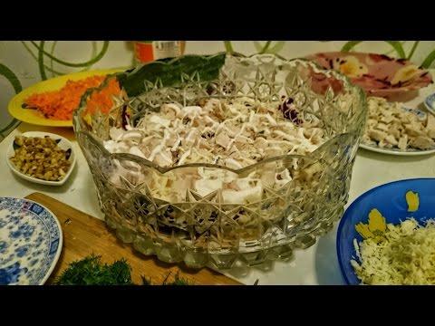 Рецепты салатов Шапка Мономаха из курицы как приготовить блюдо вкусно пошагово ужин быстро видео