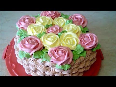 Украшаем ТОРТ  Белково заварным кремом Cake decoration КОРЗИНА РОЗ basket of roses