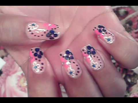 ITS FRIDAY!!!! YAY!!!! NAIL ART DESIGN PINK PURPLE WHITE & BLUE FLOWERS & DOTS Video