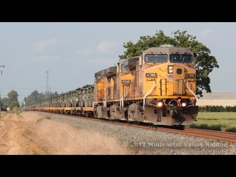 Union Pacific 6788 leads military transport train SPTYR-17 Salem, Oregon 5.17.12