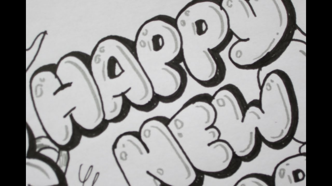 How To Write Happy New Year In Bubble Letters - YouTube