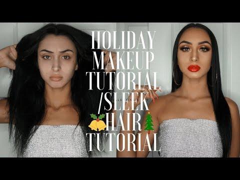 Holiday Makeup | Sleek Hair Tutorial