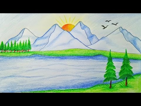 How to draw scenery of mountain Step by step (very easy)