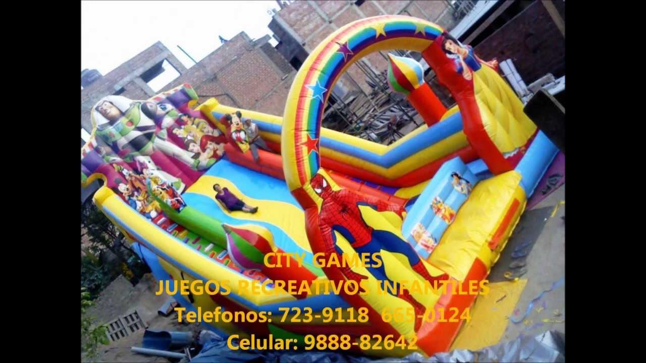 City games juegos recreativos toboganes inflables youtube for Toboganes para piscinas