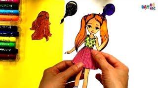 Hướng dẫn cách làm tóc cho búp bê giấy 2 | Làm đồ chơi | Dạy bé học