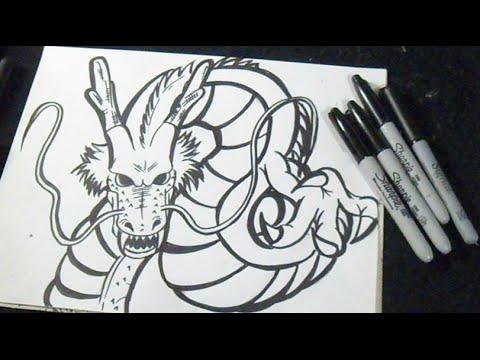 Видео как нарисовать китайского дракона поэтапно