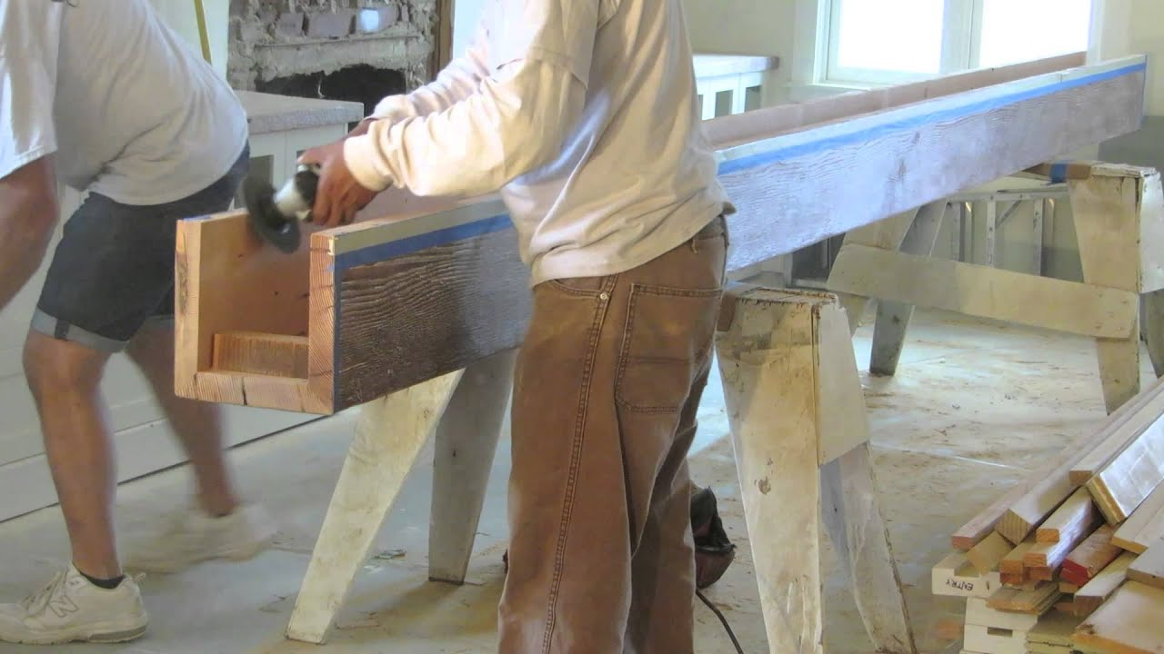 Reclaimed wood installing box beams youtube for How to build a box beam