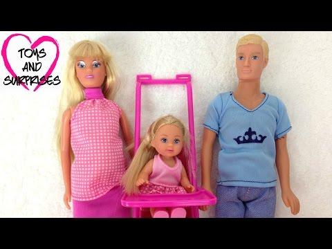 Кукла Беременна Штеффи с Еви игрушки для девочек Pregnant Doll with Pram and family