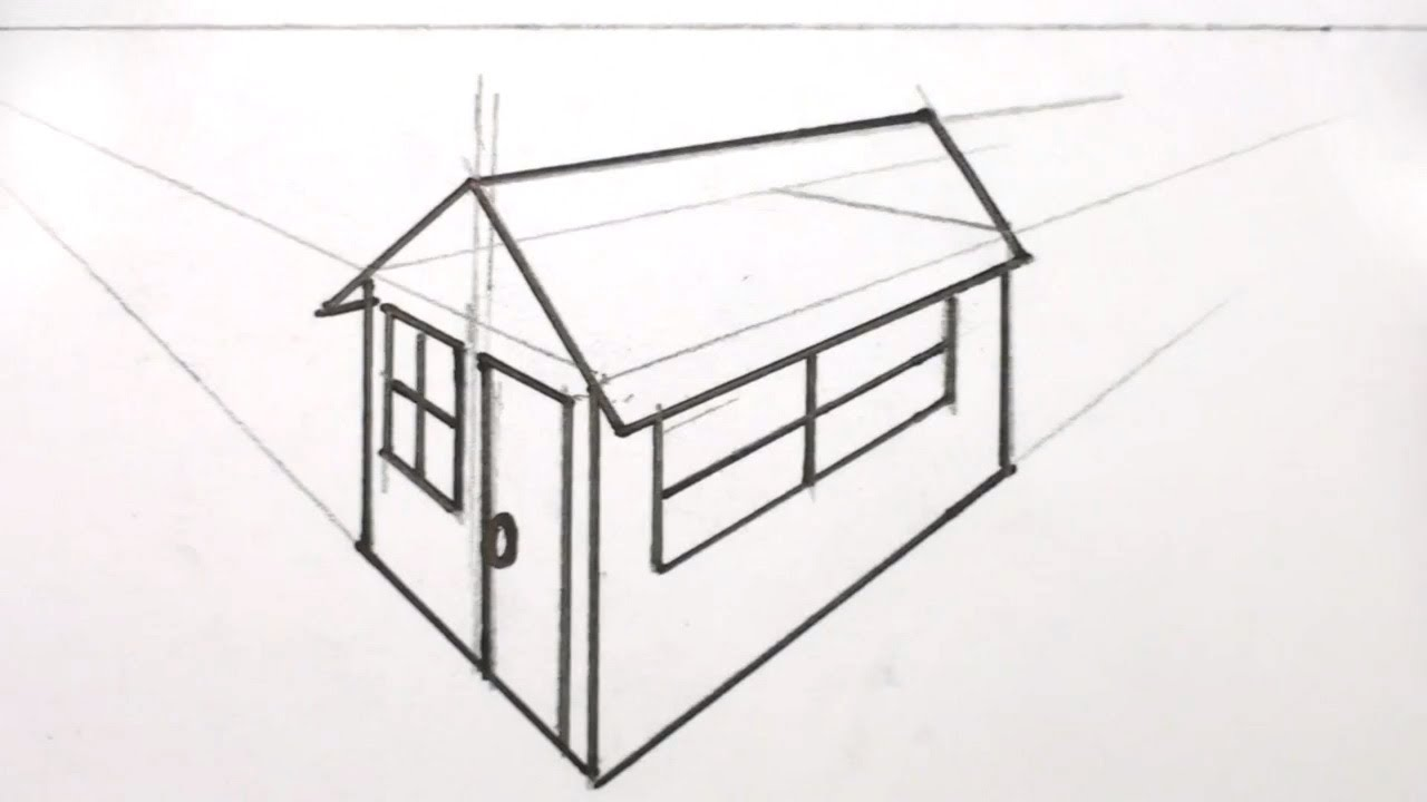 How To Draw A House 3d In Two Point Perspective Youtube