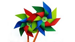 How to make a Paper Windmill - Kids Crafts Diy Toy making Tutorial (Pinwheel)