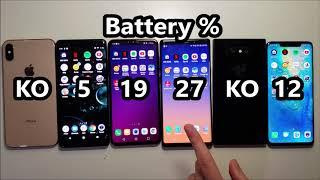Battery Life Test! Galaxy Note 9 vs iPhone XS Max, LG V40, Huawei Mate 20 Pro, Xperia XZ3 & Razer 2
