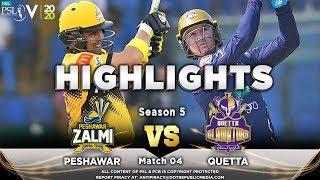 Quetta Gladiators vs Peshawar Zalmi | Full Match Highlights | Match 4 | 22 Feb 2020 | HBL PSL 2020