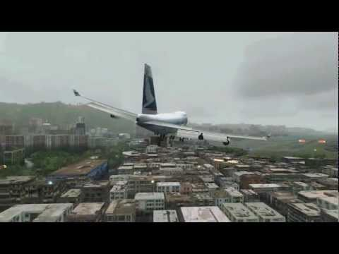 DANGEROUS AND SCARY APPROACH AND LANDING AT KAI TAK Hong Kong!!!! Cathay Pacific Boeing 747-400
