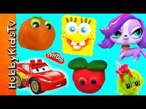 38 SURPRISE Play-Doh Toy Eggs! Cars 2, LPS, SpongeBob, Shopkins by HobbyKidsTV