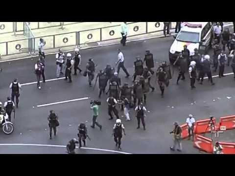 Integrantes do MST entraram em confronto com a PM durante marcha em Brasília