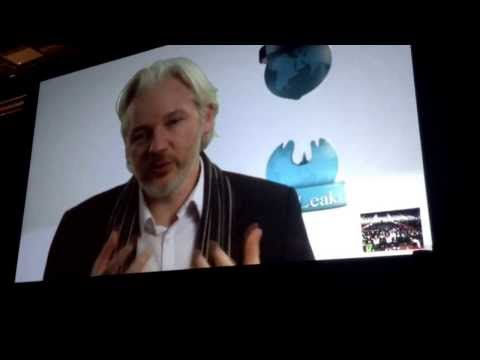 Julian Assange speaking via Skype at #sxsw
