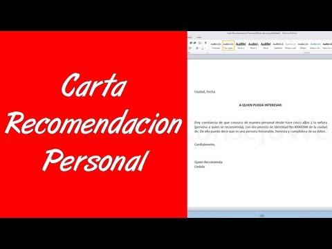 Como hacer una carta de recomendacion personal en word 2010
