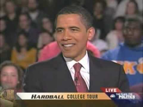 Barack Obama  Chris Mathews interview 1 College tour