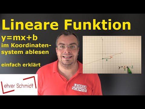 Lineare Funktion (y=mx+b) aus einem Koordinatensystem ablesen   Mathematik   Lehrerschmidt
