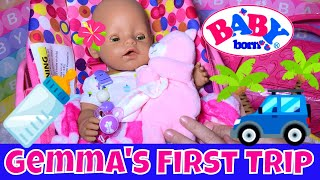 🚗Baby Born Gemma Goes On Her First Trip! 👜Packing Diaper Bag + 🍼Feeding + 👚Changing! (with Skye)