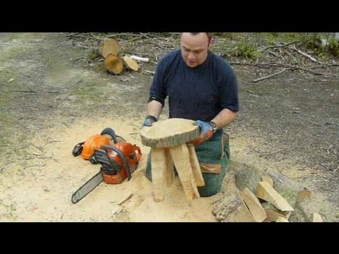 Chainsaw Sculpture Making A Stool From A Log Youtube