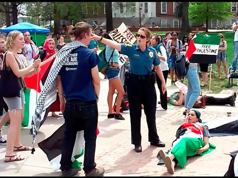 BREAKING: pro-Palestine student protesters removed by UMD police at Israel event