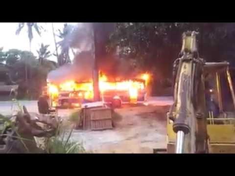 Nirosha Enterprises bus accident and fire in Alawwa