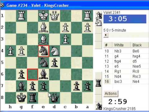 Chessworld.net : Blitz #237 vs Valet (2341) - Sicilian: dragon, classical attack (B72)