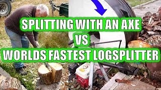 SPLITTING WITH AN AXE VS FLYWHEEL LOGSPLITTER