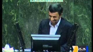 Ahmadinejad and Larijani mock during  impeachment of  minister of commerce in Majlis