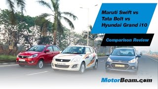 Maruti Swift vs Tata Bolt vs Hyundai Grand i10 - Comparison Review | MotorBeam