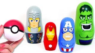 Pokemon Go with Hulk Ironman Thor Captain America Marvel Nesting Dolls Surprise Eggs