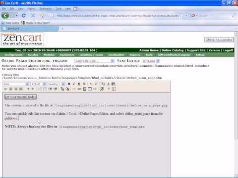 Cara mengedit halaman dalam laman web jualan  zen cart