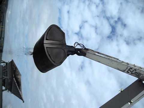 2000 Series/Model 21382 Rail Mounted E-Crane unloads Panamax ship at NSPI in Nova Scotia, Canada