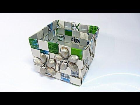 Caja hecha con Tetrabrik. Tetrabrick box.