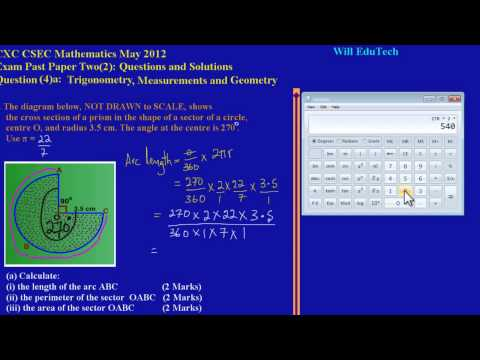 CSEC CXC Maths Past Paper 2 Question 4a May 2012 Exam Solutions (Answers)_ by Will EduTech