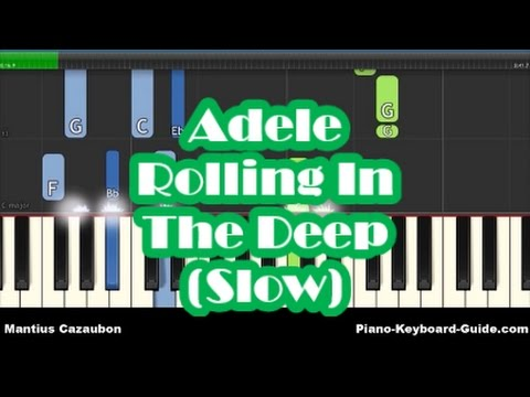 Adele - Rolling In The Deep Slow Piano Tutorial  - Easy Chords & Melody