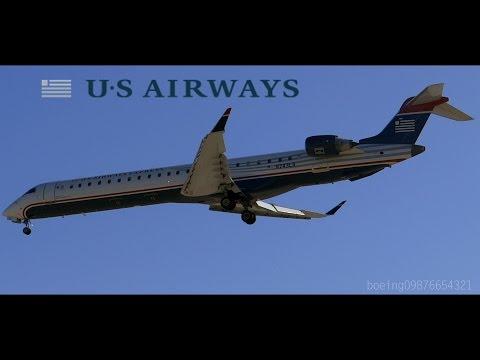 HD US Airways Express CRJ-900 N243LR Inaugural Landing at San Jose International Airport