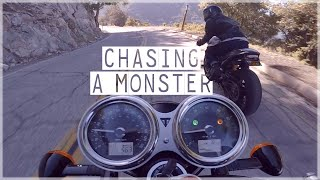 Triumph Bonneville T120 chasing a Ducati Monster on Angeles Crest | Canyon Ride