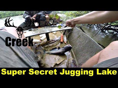 Jugging for catfish in a secret lake