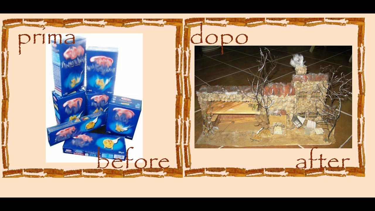 Riciclo creativo scatoline cartone casetta presepe per - Casetta di cartone da colorare ...
