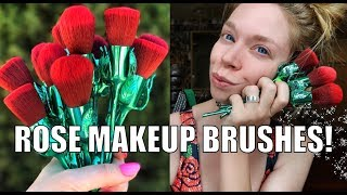 ROSE MAKEUP BRUSHES! - GORGEOUS! REVIEW & DEMO