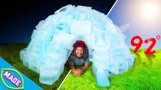 We Built an Igloo in the Middle of Summer and Slept In It! *24 Hour Overnight Challenge*