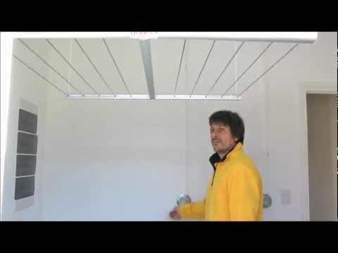 Funcionamiento tendedero de ropa colgante a manivela youtube for Tendedero ropa exterior