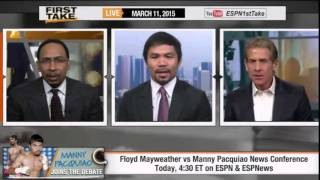 ESPN First Take - Manny Pacquiao : 'Floyd Mayweather's Scared To Lose' on First Take