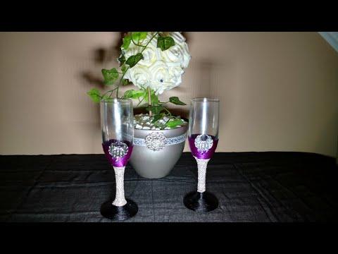 DIY  Harley Davidson Wedding Champagne Flutes