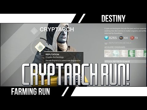 DESTINY CRYPTARCH RUN Up to 3 Legendary Engrams Every 2 Hours (DESTINY Glimmer Farming Loot Run)