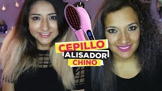 Probando: Cepillo Alisador Chino / Funciona? / Brush Hair Straightener