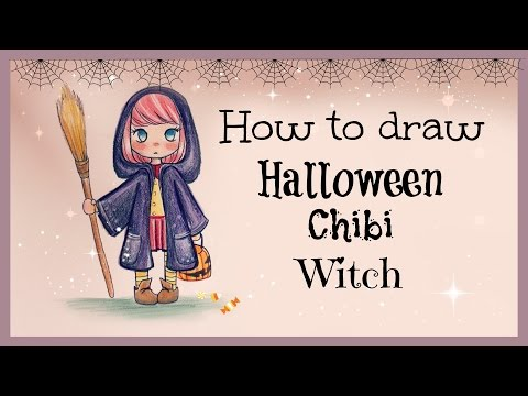 Drawing Tutorial ❤ How to draw and color Halloween Chibi Witch